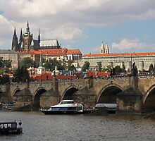 Prague Caste and Charles Bridge by Elena Skvortsova