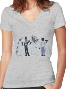 Blue, flowers, and birds Women's Fitted V-Neck T-Shirt