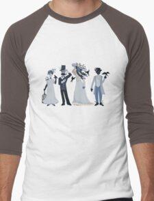 Blue, flowers, and birds Men's Baseball ¾ T-Shirt