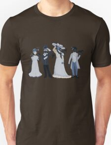 Blue, flowers, and birds Unisex T-Shirt