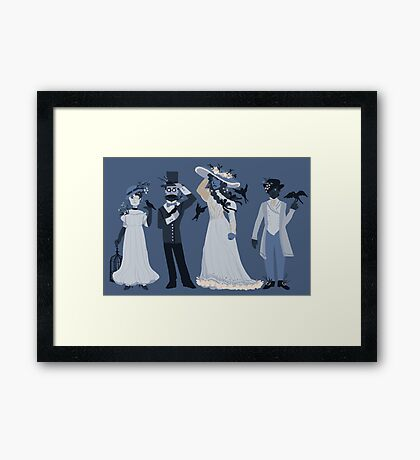Blue, flowers, and birds Framed Print
