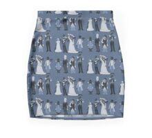 Blue, flowers, and birds Mini Skirt