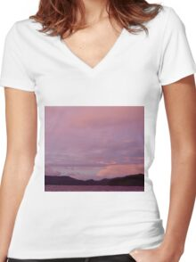 Purple Sky Women's Fitted V-Neck T-Shirt