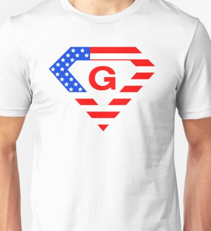 Super alphabet letter with USA flag Unisex T-Shirt