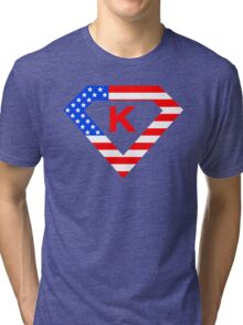 Super alphabet letter with USA flag Tri-blend T-Shirt