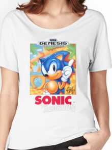 Sega Genesis Sonic The Hedgehog Video Game Cover  Women's Relaxed Fit T-Shirt