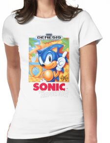 Sega Genesis Sonic The Hedgehog Video Game Cover  Womens Fitted T-Shirt
