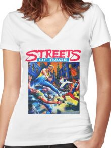 Streets of Rage cover art  Women's Fitted V-Neck T-Shirt