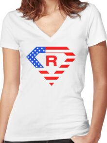 Super alphabet letter with USA flag Women's Fitted V-Neck T-Shirt