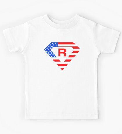 Super alphabet letter with USA flag Kids Tee