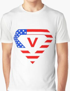 Super alphabet letter with USA flag Graphic T-Shirt