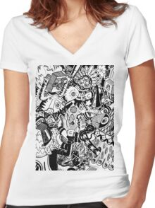 Cave Party Women's Fitted V-Neck T-Shirt