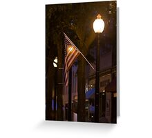 American Flag By Street Light Greeting Card
