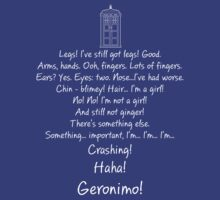 Doctor Who - I'm... Crashing! Haha! Geronimo! by wordsonashirt