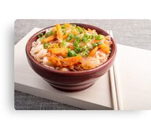 Asian food of rice noodles in a small brown wooden bowl Canvas Print