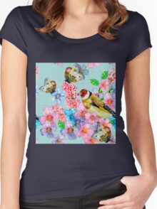 Beautiful,hand painted,bird,flowers,butterflies,cute,girly,pretty Women's Fitted Scoop T-Shirt