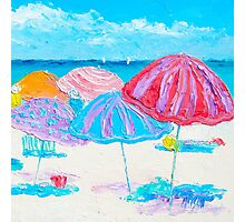 Umbrellas beach scene Photographic Print