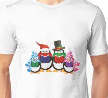 Penguins Christmas Carolers Illustration Unisex T-Shirt