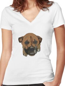 Buddy the Rescued Pitbull Boxer Lab Mix Women's Fitted V-Neck T-Shirt
