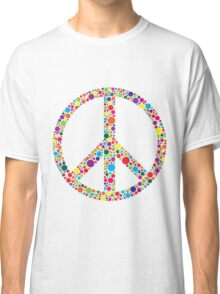 Peace Symbol with Polka Dots Illustration Classic T-Shirt
