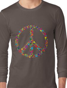 Peace Symbol with Polka Dots Illustration Long Sleeve T-Shirt