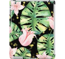 Tropical Monstera and pink tulip pattern iPad Case/Skin