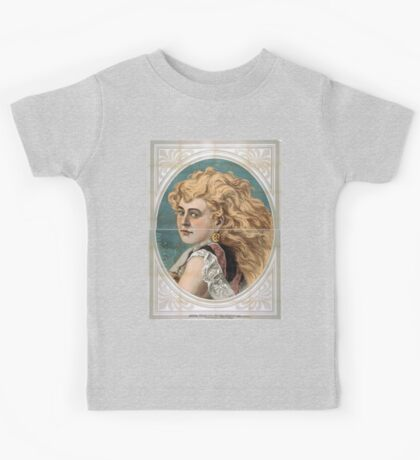 Performing Arts Posters Bust view of woman with long blond free flowing hair wearing lace 1825 Kids Tee