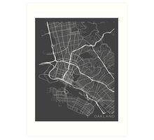 Oakland Map, USA - Gray Art Print