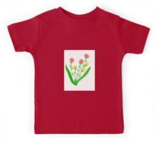 Pinky Red and Yellow Blooms Kids Tee