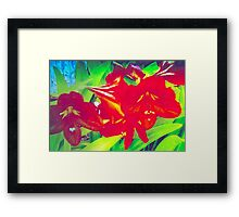 Bright amaryllis cluster Framed Print