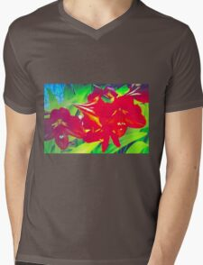 Bright amaryllis cluster Mens V-Neck T-Shirt