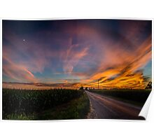 Country Road Amazing Sunset Poster