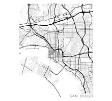 San Diego Map, USA - Black and White Photographic Print