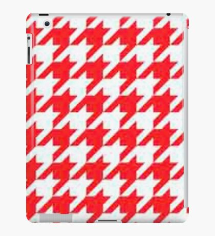 houndstooth,red,white,pattern,modern,trendy,elegant,chic,contemporary, decor,decorative,style,classy,classical,stylish iPad Case/Skin