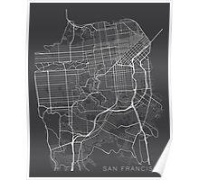 San Francisco Map, USA - Gray Poster