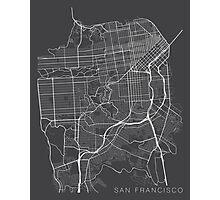 San Francisco Map, USA - Gray Photographic Print