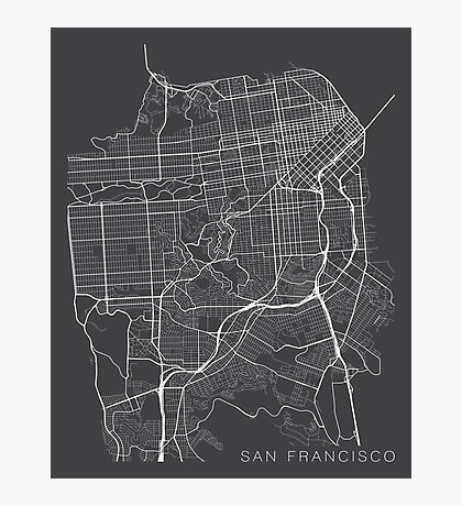 San Francisco Map, USA - Gray Photographic Print