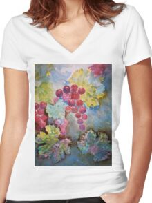 Wine Grapes in the Vineyard Women's Fitted V-Neck T-Shirt