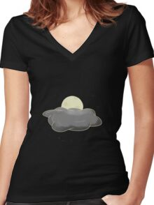 Sweet Night Moon and Cloud Women's Fitted V-Neck T-Shirt