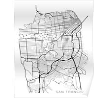 San Francisco Map, USA - Black and White Poster