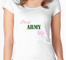 Proud Army Wife (Pink & Green) Women's Fitted Scoop T-Shirt