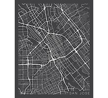 San Jose Map, USA - Gray Photographic Print