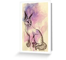Caracal Cat Watercolor Greeting Card