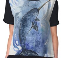 Narwhal Pod in Arctic Waters Chiffon Top