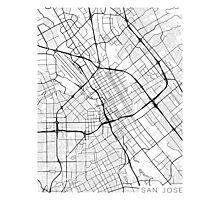 San Jose Map, USA - Black and White Photographic Print