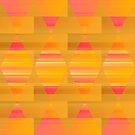 Argyle - Pink and Yellow on Stripes and Rectangles  by Dana Roper
