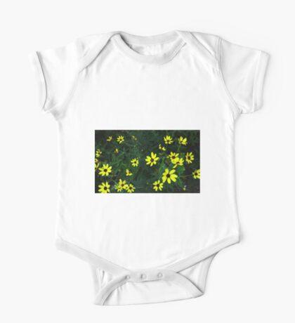 Yellow Flowers.  One Piece - Short Sleeve