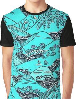 woodblock hillscape Graphic T-Shirt