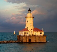 RIVER NORTH LIGHTHOUSE AT SUNSET by gottschalkphoto