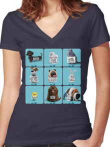 the secret life of pets & Freinds Women's Fitted V-Neck T-Shirt